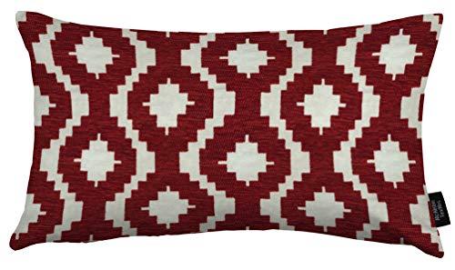 McAlister Textilien Arizona Kissenbezug in Rot 1er Set Größe 50 x 30 cm Deko-Kissenbezug, im geometrisch gemusterten Chenille Style für Sofa, Bett, Couch