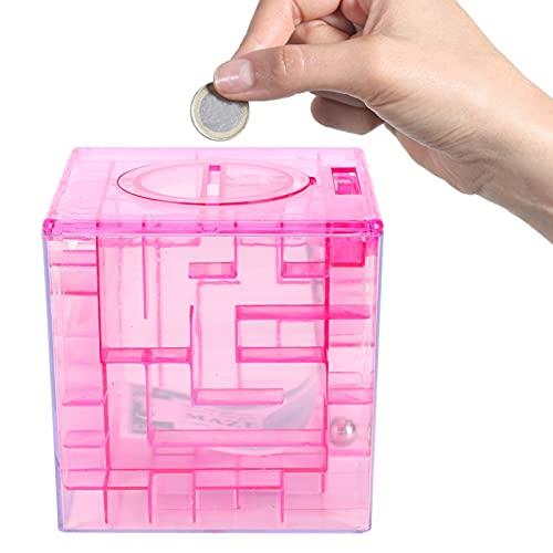 Mini Hucha, Exquisito Rompecabezas de Dinero Cajas de Regalo Pequeño Juego de Laberinto Plástico para Efectivo para Monedas(Red)