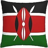 Hirola Kissenbezug mit Kenia-Flagge, quadratisch, für Sofa, Couch, Bett, Auto