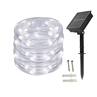 BXROIU Solar Fairy Lights 100 LEDs String Lights Starry Fairy Lights, 2 Modes 33 ft/10 Meter Waterproof Outdoor Lights for Patio, Garden, Party (Cold White)
