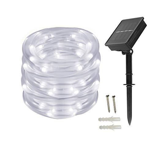 BXROIU Solar Lichtschlauch Lichterkette,10 Meter 100 LEDs Wasserdicht Außenlichterkette, LED Lichterketten für Hochzeit,Party und Weihnachten,Weihnachtsbeleuchtung