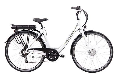F.lli Schiano E- Moon, Bicicletta elettrica Unisex Adulto, Bianca, 28''