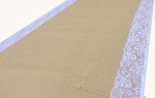 AAYU Brand Premium Large Burlap Wedding Aisle Runner 100-feet x 4-feet Wide | 5 Inches Ivory Lace Attached on Both Edges,48 inch 100 feet Wide & Extra Long