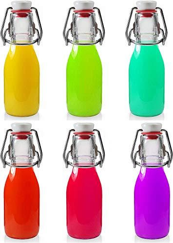 Annfly 6 botellas de vidrio con tapa abatible para preparar bebidas, vinagre (6 unidades, 100 ml)