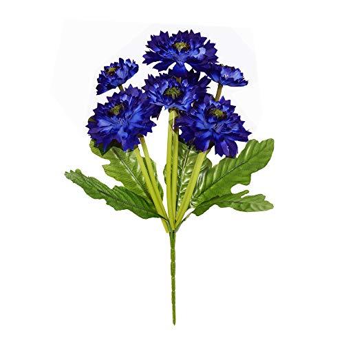 FloristryWarehouse Künstlicher Kornblumenstrauß, 7 Blüten, 36 cm, Hellblau