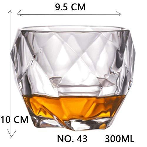 Kyman Tiro del Partido de Cristal cristalina de la Boda del Licor del Vino de Cristal del café Taza de té for la Cerveza Spirits Gafas, NO.3 320ml (Color : No.43 300ml)
