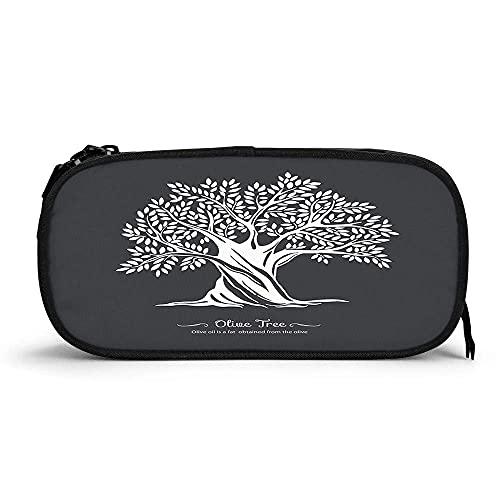 Árbol de alta capacidad para bolígrafos Silueta de árbol de olivo Símbolo de la naturaleza ramas hojas sanas plantas orgánicas duraderas bolsa de lápices papelería con cremallera