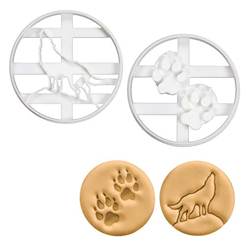 Set of 2 Wolf cookie cutters (Designs: Howling Wolf and Wolf Paw Prints), 2 pieces -Bakerlogy