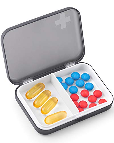 TookMag Daily Pill Organizer, One Day AM PM Travel Pill Case Single Day Pill Box 2 Times A Day Pill Container for Purse or Pocket to Hold Vitamins, Pills, Fish Oil, Supplements