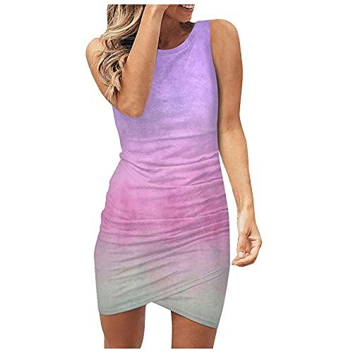 GOKOMO Sommerkleid Damen Einfarbig Etuikleid Rundhals Schulterfrei Ärmellos Casual Kleider Strandkleid Minikleider Slim Partykleid für Fraun