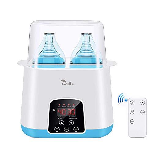 Luchild Calienta Biberones para 2 Botellas Calentador de alimentos para Bebé con Multifunción 6 en 1 Esterilizador Eléctrico y Digita Libre de BPA
