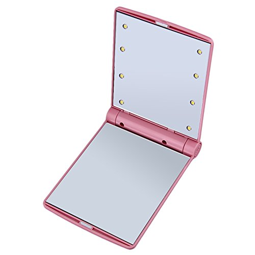 LED Spiegel oplichten make-up spiegel roze Vouw weg handtas portemonnee Eyeliner Foundation Wenkbrauw x8 avondmaal helder led lichten roze Travel Pocket opvouwen Fold Up lichten licht gebruik in de donkere camping spiegel