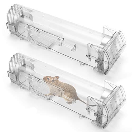 IREGRO Mausefalle Lebend, 2 Stück Tierfreundliche Lebendfallen, Transparent mit Luftlöcher Kastenfallen, Wiederverwendbar Mäusefalle Rattenfalle für Garten und Haus