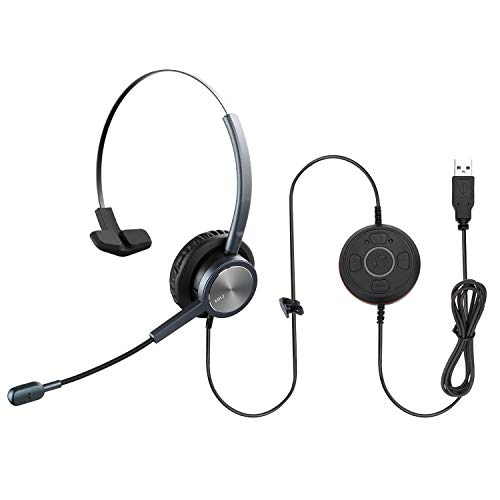 MKJ USB Headset with Microphone for Computer Noise Cancelling Office Softphone Headset Corded Mono Laptop Headset with Voice Recognition for Rosetta Stone Zoom Meetings Microsoft Teams Skype Calls