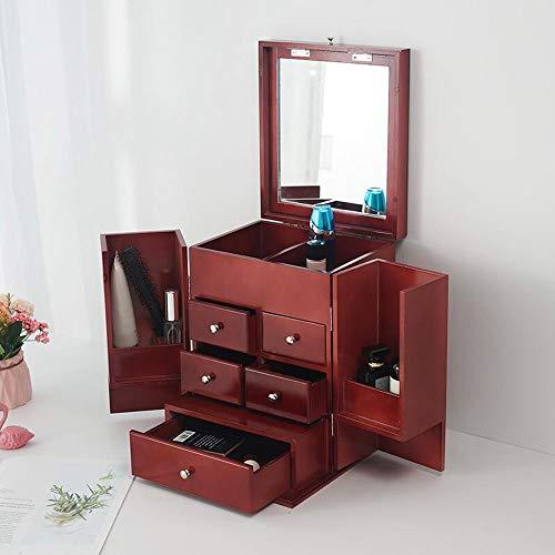 Organizador plegable de madera con espejo de maquillaje Europea joyería neceser de...