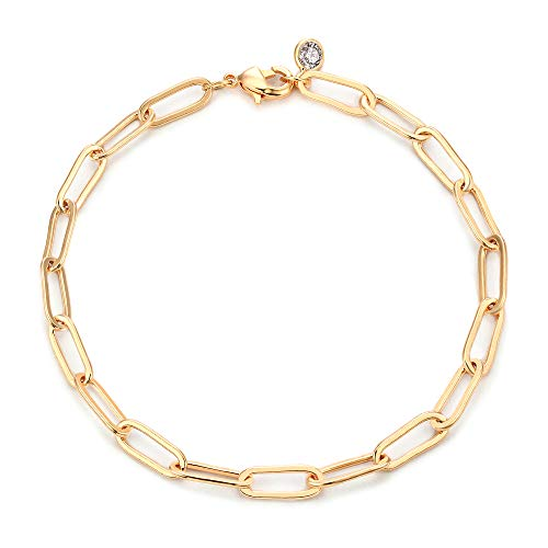 Mevecco Gold Bracelets for Women 14K Gold Plated Dainty Handmade oval chain Bracelet for Women