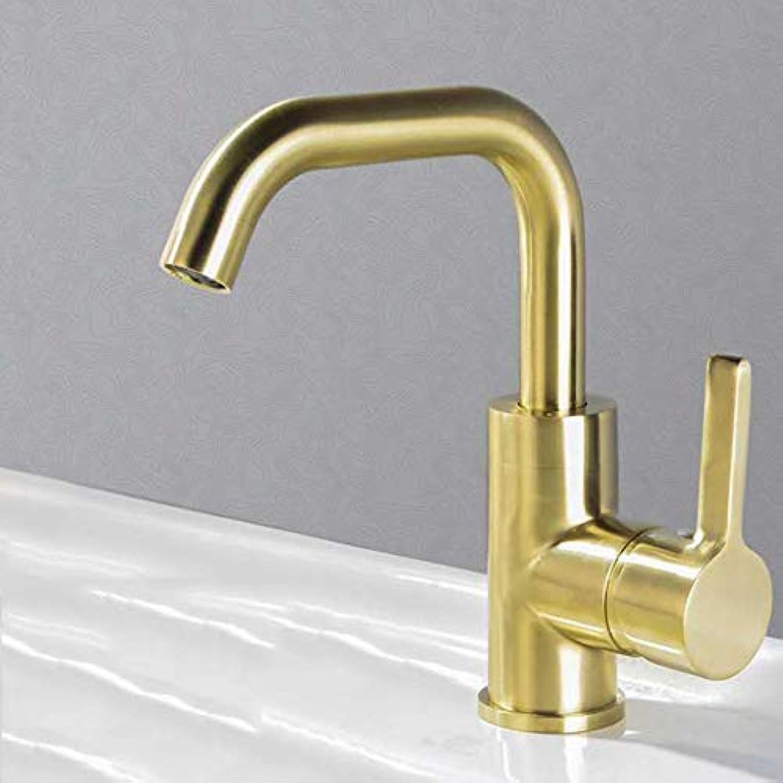360 Grad-Umdrehung kaltes Wasser Becken Wasserhahn Küchenhahn gebürstet Gold Waschbecken Wasserhahn, EY-10009 Gold gebürstet