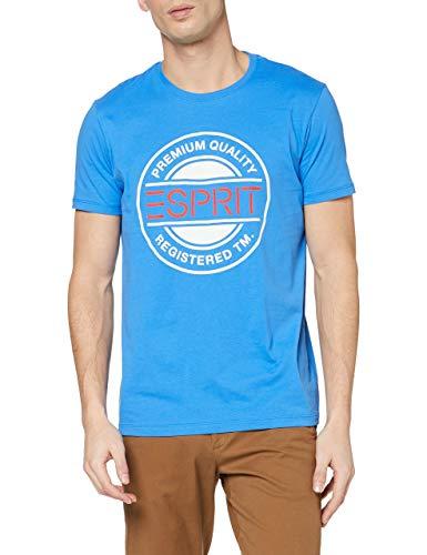 ESPRIT Herren Logo Print T-Shirt, 410/BRIGHT Blue, XXL
