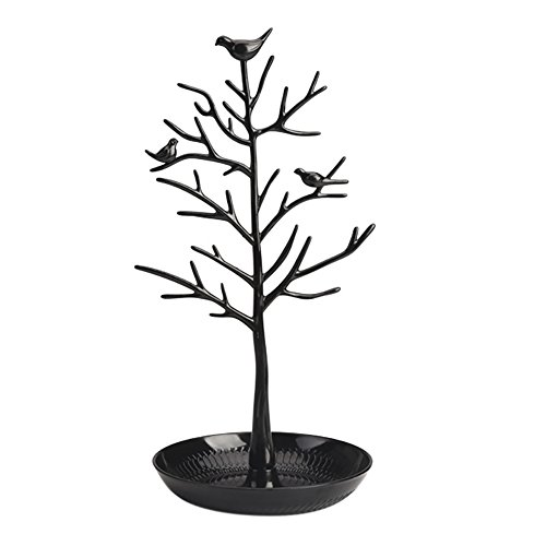 ChezMax Jewelry Display Necklace Earring Organizer Holder Plastic Birds Tree Stand with Tray Antique Bracelet Rings Rack Tower Decoration for Women Girl Black 11.8 Inch