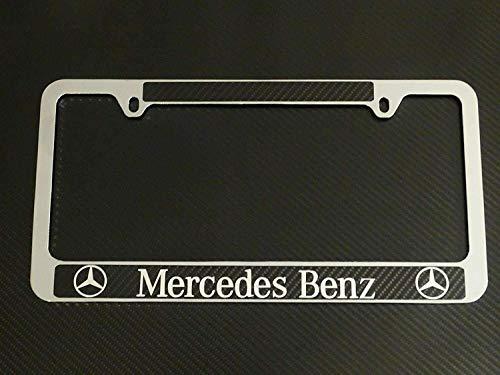 Mercedes-Benz license plate carbon fiber chrome text, INCLUDES DECAL!