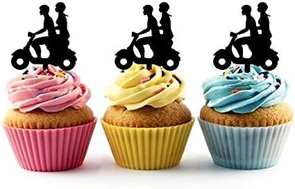 Couple Scooter Motorcycle Cupcake Cake Topper para tartas decoración para ceremonia de cumpleaños celebración boda decoración de acrílico Topper para Cake Fiesta Pastel Decoraciones 10 piezas