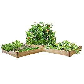 "Greenes Fence RC4T4S24B Two Tiers Dovetail Raised Garden Bed 2 Made in the USA from naturally rot- and insect-resistant cedar. The wood is 100% chemical free. Middle tier offers 10. 5"" depth and lower tiers are 7"" deep Package contains 4 Tall Posts, 4 Short Posts, 24 Boards, 8 Caps, and 8 Screws"