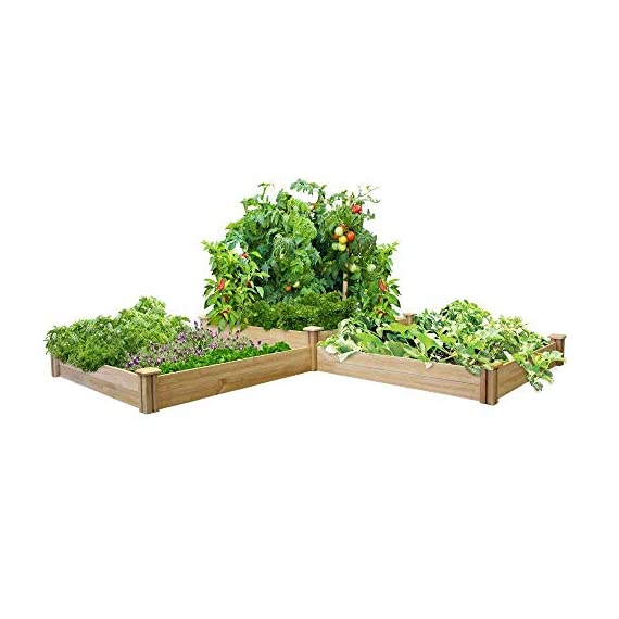 """Greenes Fence RC4T4S24B Two Tiers Dovetail Raised Garden Bed 1 Made in the USA from naturally rot- and insect-resistant cedar. The wood is 100% chemical free. Middle tier offers 10. 5"""" depth and lower tiers are 7"""" deep Package contains 4 Tall Posts, 4 Short Posts, 24 Boards, 8 Caps, and 8 Screws"""