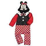 Disney Baby Strampler Mädchen rot schwarz | Motiv: Minnie Mouse Frack | Baby Overall mit Kapuze für Neugeborene & Kleinkinder | Größe: 18-24 Monate (92)