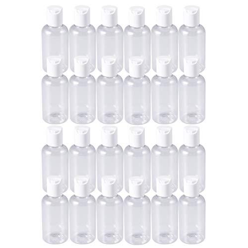 Minkissy 24 Piezas 75 Ml Botellas de Plástico Vacías con Tapas de Disco Tapa de Prensa Recargable Botella de Viaje de Jabón de Manos para Champú Crema Loción Artículos de Tocador