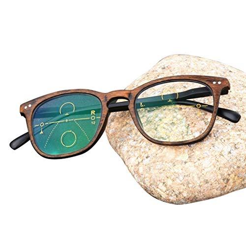 SLRMKK Retro Progressive Multi-Focus Lesebrille, photochrome Fern- und Nah-Sonnenbrille mit doppeltem Verwendungszweck - für Männer und Frauen
