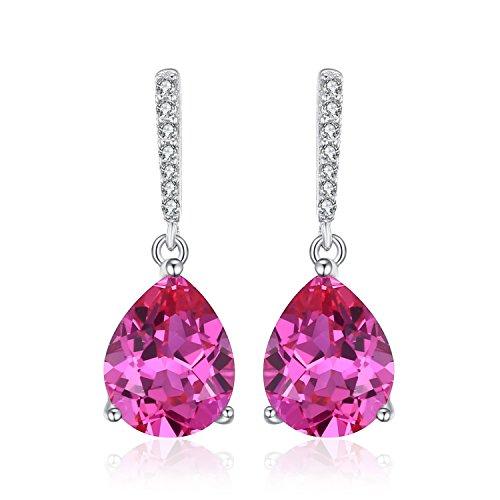 JewelryPalace Pendientes elegante largo en forma de pera adornado Zafiro rosa creado en Plata de ley 925