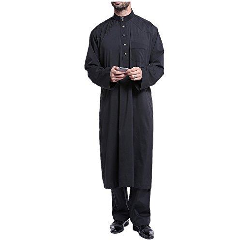 zhbotaolang Herren Middle East Thobe mit Hosen, Casual Dubai Arab Kaftan Kleidung,Schwarz,XL