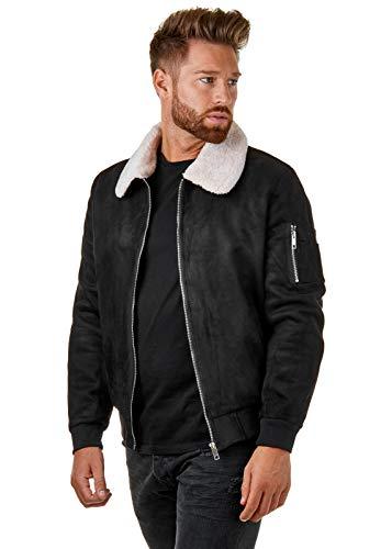 Burocs Herren Pilotenjacke Faux Shearling Jacke Schwarz Beige Braun BR005, Größe:L, Farbe:Schwarz