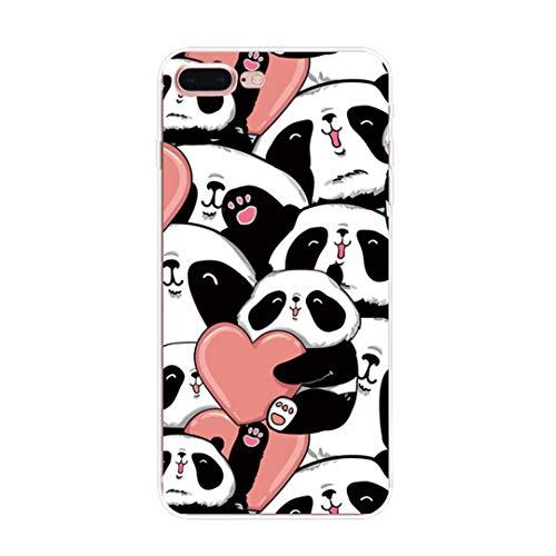 Coque iPhone 7 Plus, Coque iPhone 8 Plus Élégant Panda Housse de Protection Case Transparente Silicone TPU Anti-Rayures Anti Choc Housse Étui pour Apple iPhone 7 iPhone 8 Case (iPhone 7 8 Plus, 6)