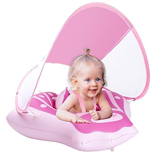 LIGHTALING Baby Schwimmring mit abnehmbarem Sonnendach, Baby Schwimmtrainer Baby Schwimmhilfe mit Sonnenschutz, Schwimmreifen für Babys, Kleinkinder ab 1 2 3 Jahr