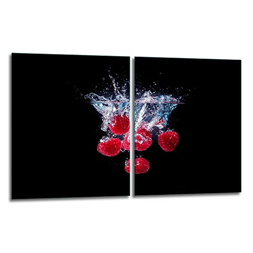 TMK | Juego de 2 cubiertas de vidrio para cubrir la vitrocerámica de 40 x 52 cm, protección contra salpicaduras, para cubrir la vitrocerámica, tabla de cortar, color negro
