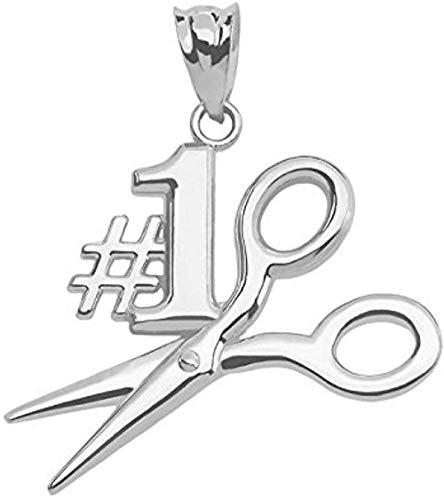 NC110 Collar con Colgante de Oro Blanco de 14 Quilates # 1 Colgante de Estilista YUAHJIGE