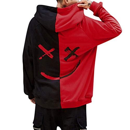 Overdose Sudadera Hombres Patchwork Slim Fit Hoodie OtoñO Moda Outwear Nueva Blusa Adolescente Top 2018 Sudadera (Small, Rojo)