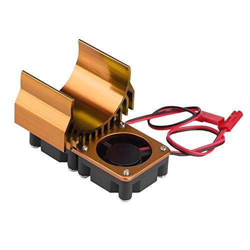 Radiador de Motor RC, 540 / 550 Motor Doble Enfriamiento Ventiladores Dobles Disipador de Calor para 1/10 Escala Coche RC El¨¦ctrico(Oro)