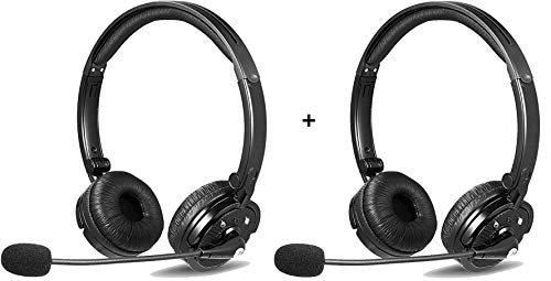 2 Pack LUXMO Bluetooth Headphones with Mic W/Noise Cancelling Great for Zoom Meetings/Skype Calls/Call Centers Operators/Truck Drivers/Any Businesses/Home Office use- Save ON This Bundle Deal!