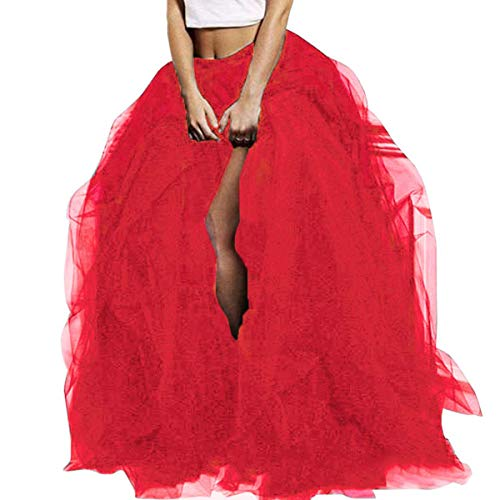 Women Tulle Tutu Long Skirt Maxi Tulle Floor Length Layered High Waist Skirt Wedding Night Out Party A-Line Puffy Skirt (Red)