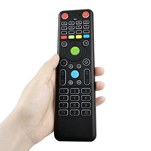 DECDEAL TZ18 2.4 GHz Air Mouse Mini Teclado Sem Fio Duplo-Side Handheld Controle Remoto com Sensor de 6-eixos Giroscópio Branco Backlight para Android TV Inteligente PC Notebook Laptop