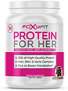 FoxyFit Protein for Her, Double Chocolate Whey Protein Powder with CLA to Help with Weight Management and Biotin for Healt...