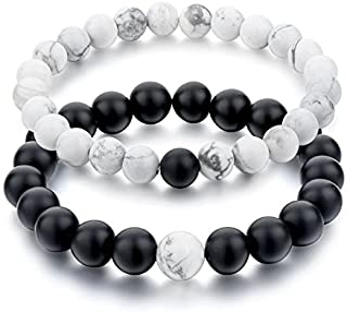 Shining Diva Fashion Distance Couple Natural Stones Reiki Yoga Healing Onyx and Howlite Unisex Bracelet for Men and Women...
