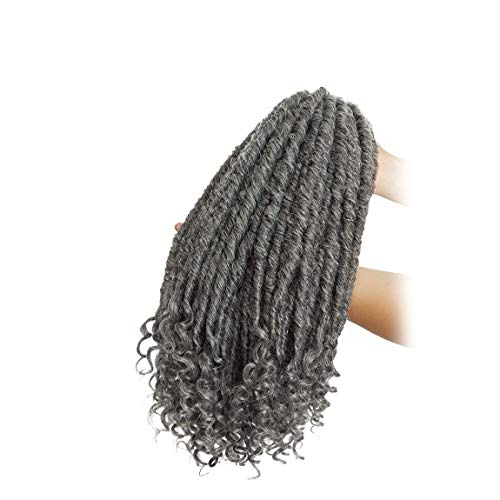 Straight Goddess Faux Locs With Curly Ends Ombre Braiding Locs Synthetic Crochet Braiding Hair Extensions Dreadlocks For Braids 3 Packs - Dark Grey