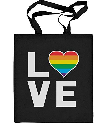 Shirtgeil Jutebeutel - LGBT Gay Regenbogen Tasche Herz in Love Jutebeutel Baumwolltasche One Size Schwarz