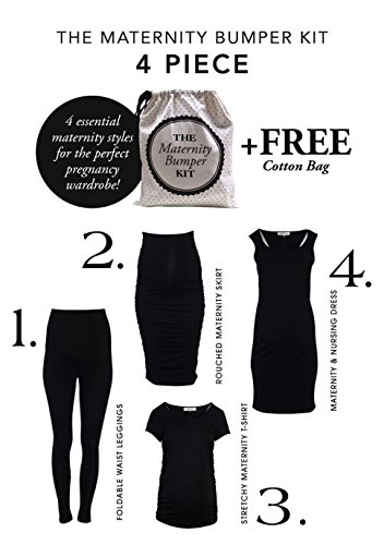 Angel Maternity Bumper Kit: Maternity Clothing that grows with your Baby Bump 4-piece pregnancy clothing set - S, Black
