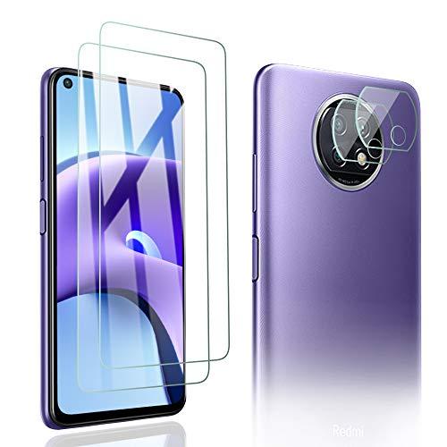 PaceBid 2 Pack Protector de Pantalla + 2 Pack Protector de Lente de Cámara Compatible con Xiaomi Redmi Note 9T 5G, [ Dureza 9H ] [ Anti-Arañazos ] [ Caso- Amistoso ] Face ID Completamente Cristal