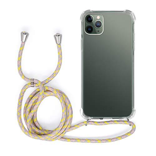 MyGadget Funda Transparente con Cordón para Apple iPhone 11 Pro MAX - Carcasa Cuerda y Esquinas Reforzadas en Silicona TPU - Case y Correa - Amarillo