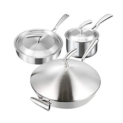 Ensemble de casseroles en acier inoxydable 304, casserole antiadhésive 3 ensembles de combinaison de casserole de lait dans une poêle à frire wok avec des ustensiles de cuisson en acier inoxydable,